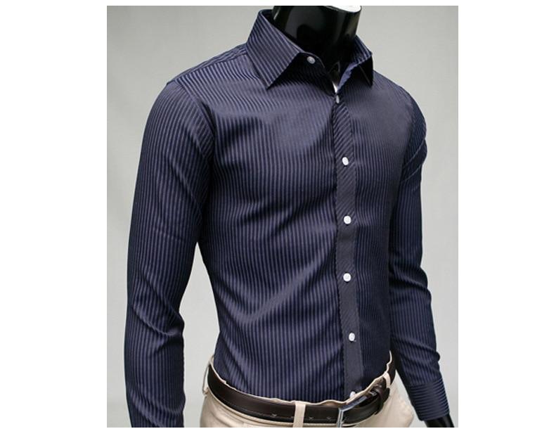2020 Gentleman Stripe Long Sleeve Shirt Leisure Men's Casual Slim Long-sleeved Shirt Top Blouse Business Men Brand Clothing 5