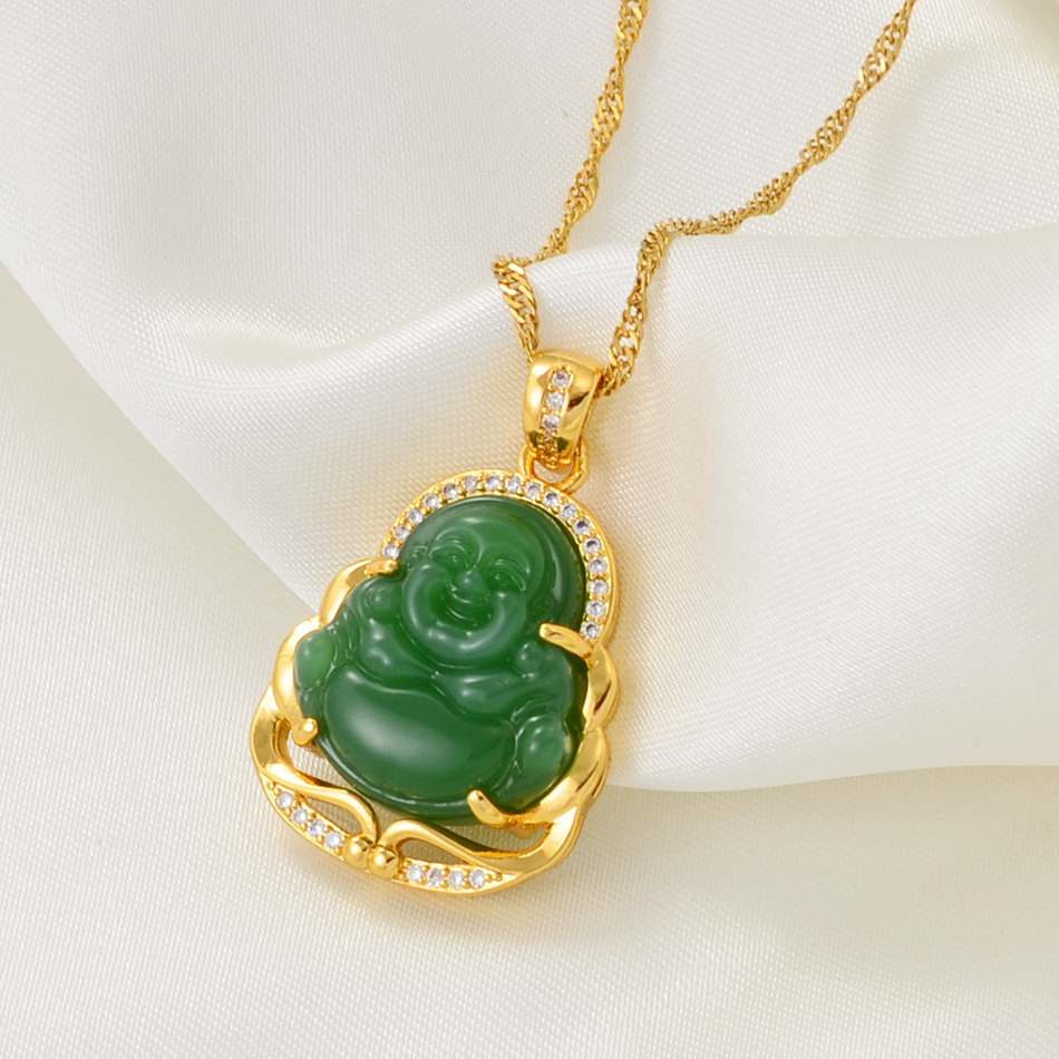 Anniyo Green Buddha Pendant Necklaces Women Amulet Chinese Style Maitreya Necklace Jewelry New Style Drop Shipping #001636