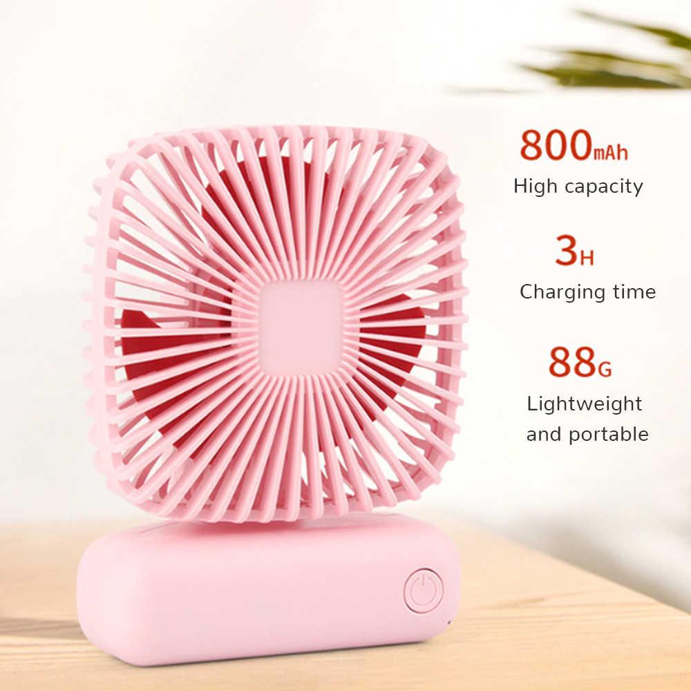 Mini ventilador de mano portátil recargable con batería Escritorio de refrigeración con Base 3 para el hogar Oficina viajes al aire libre