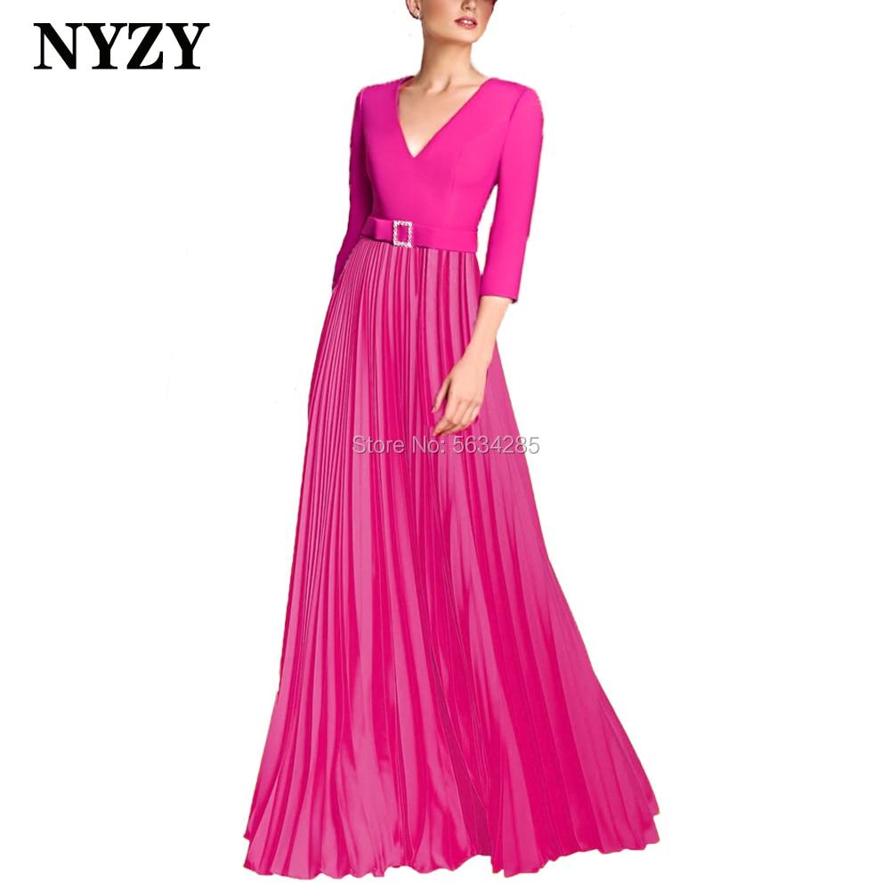 Pleats Chiffon Elegant Mother Of The Bride Dresses Long 2020 NYZY M268C Fuchsia Vestido Formal Dress Evening Party Prom