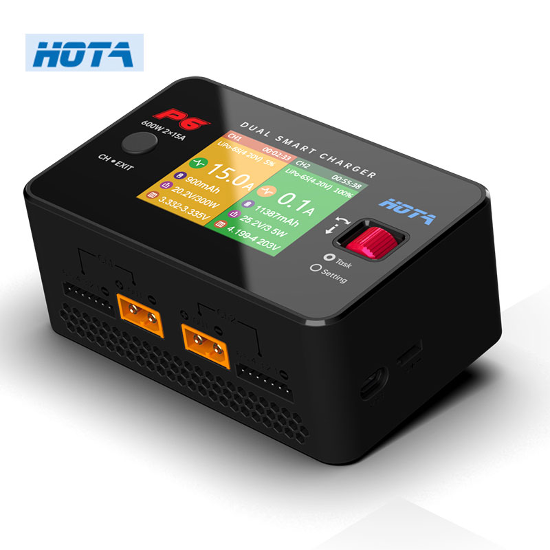 HOTA P6 600W 15x2 Dual Channel Smart Charger