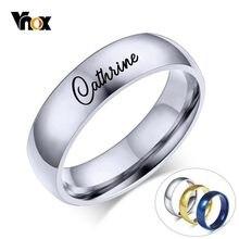 Vnox – bague avec nom personnalisé pour femmes et hommes, 6mm, en acier inoxydable, Alliance classique