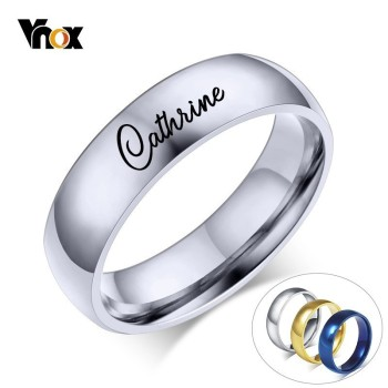 цена Vnox Free Engraving Personalized Name Ring for Women Men 6mm Stainless Steel Wedding Band Classic Alliance онлайн в 2017 году
