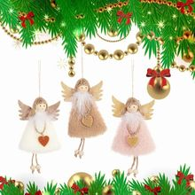 3pcs/set Lovely Christmas Angel Plush Doll Heart Toys Xmas Tree Pendants Ornaments Home Decoration