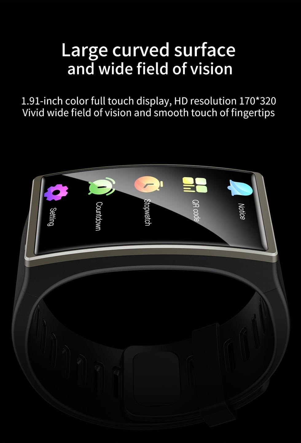 Haa86d08a6fc0479c94a7710263a5204em Smartwatch 2020 1.9 Inch 170*320 Screen LEMFO DM12 Smart Watch Men IP68 Waterproof Sport Heart Rate Blood Pressure Android IOS