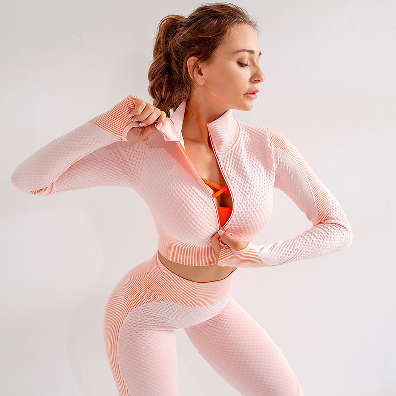Fanceey Long Sleeve sports wear for women gym clothing for women sport suit seamless women yoga set gym clothes fitness clothing