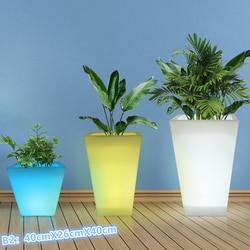 Impermeable multicolor recargable cuadrado pequeño S brillante LED maceta planta maceta cubo plástico led cubo de hielo