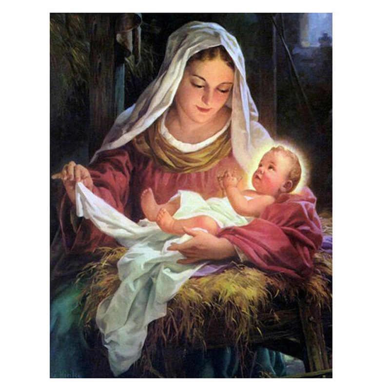 Bricolage diamant peinture religion pleine Madonna point croix diamant broderie mazayka autocollant mural décorations de noël pour la maison