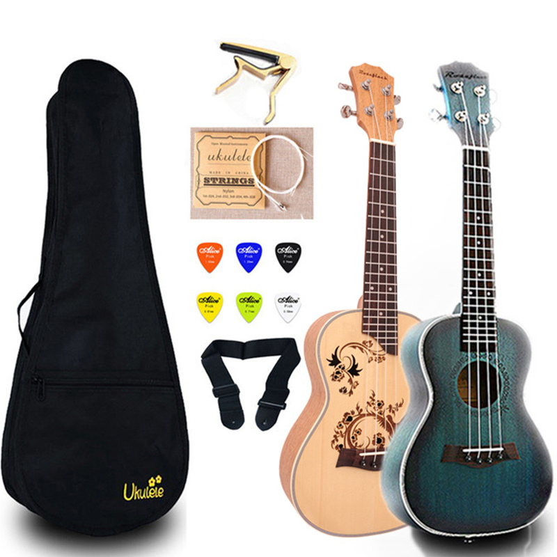 23 Inch Ukulele Mahogany Concert Ukelele Mini Guitar  With Bag Capo String Strap Picks Gift Hawaii Guitar UK2329A
