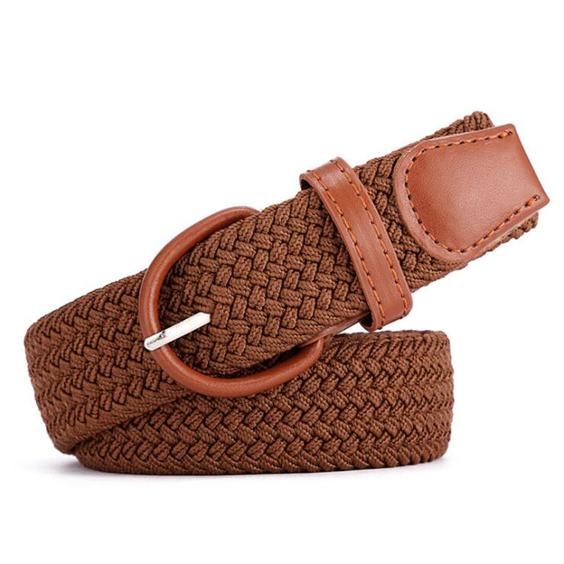 Women Casual Knitted Pin Buckle Belt Woven Canvas Elastic Expandable Braided Stretch Belts Plain Webbing Strap