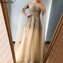 Dubaj złoto luksusowe O Neck Sexy suknie wieczorowe 2020 cekiny kryształ z rękawy Cap formalna sukienka Serene Hill LA70454