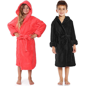 Kid's Children's Flannel Hooded Bathrobe For Boys Girls Thicken Sleep Robes Bathrobes Toddler Baby Infant Beach Towels Pajamas