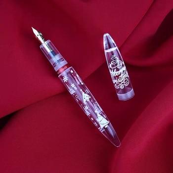 Moonman M2 gotero pluma estilográfica transparente pluma de tinta clara copo de nieve versión conmemorativa EF/F plumín regalo A 1,1 MM plumín whexting