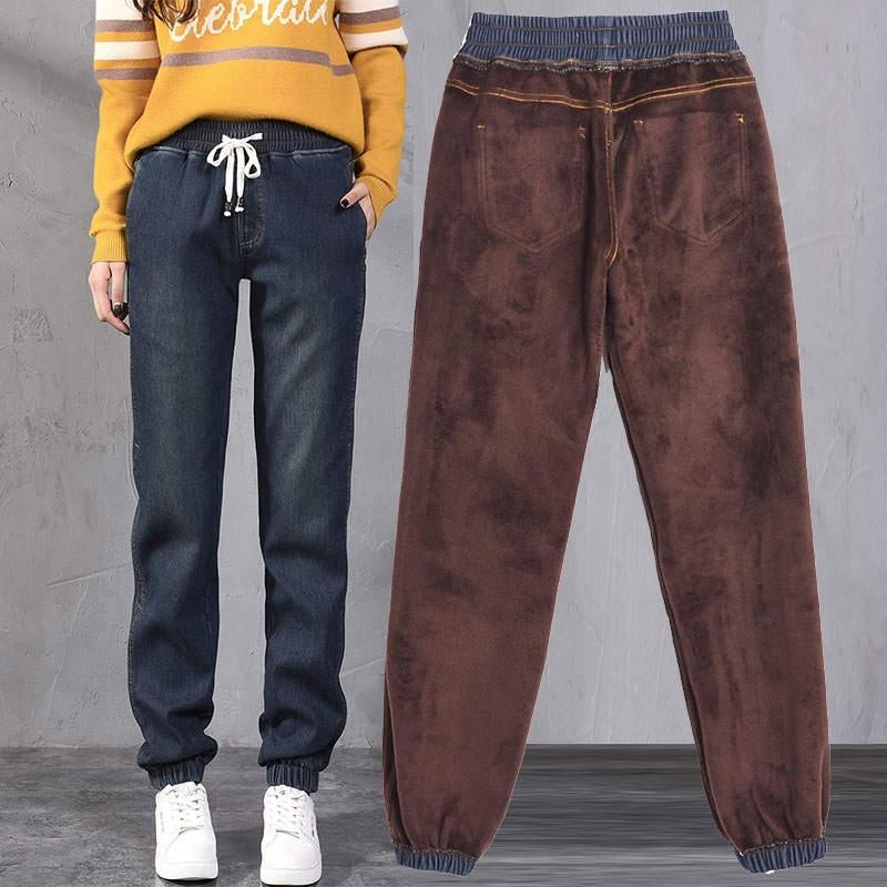 Autumn Winter Plus Velvet Thicken Boyfriend   Jeans   For Women Drawstring Waist Warm Harem Pants Women Denim Long   Jean   Femme C5759