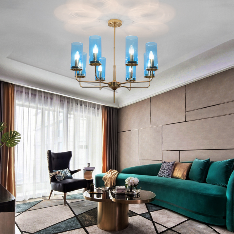 Post Modern Light Luxury Chandelier Creative Personality Bedroom Blue Lamp Dining Room Lamp Northern Europe Simple Style Lamp