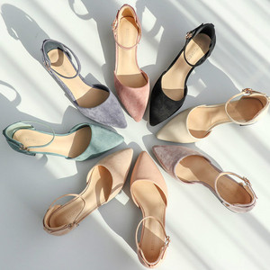 Image 3 - Zapatos de tacón alto cuadrado para mujer, sandalias de ante de imitación con correa en el tobillo, con punta en pico, para oficina, 2020