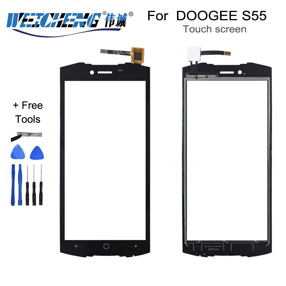 WEICHENG For DOOGEE S55 Touch Screen Glass 100% New Glass Panel Touch Screen For S55 Touch Phone Touch Panel+ Tools+Adhesive