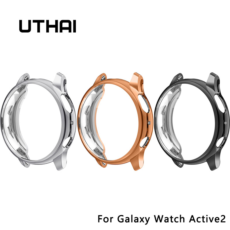 UTHAI Z30 For Galaxy Watch Active2 40MM 44MM Case For Samsung Galaxy Watch Active2 44/40mm TPU Plating Anti-fall Protection Case
