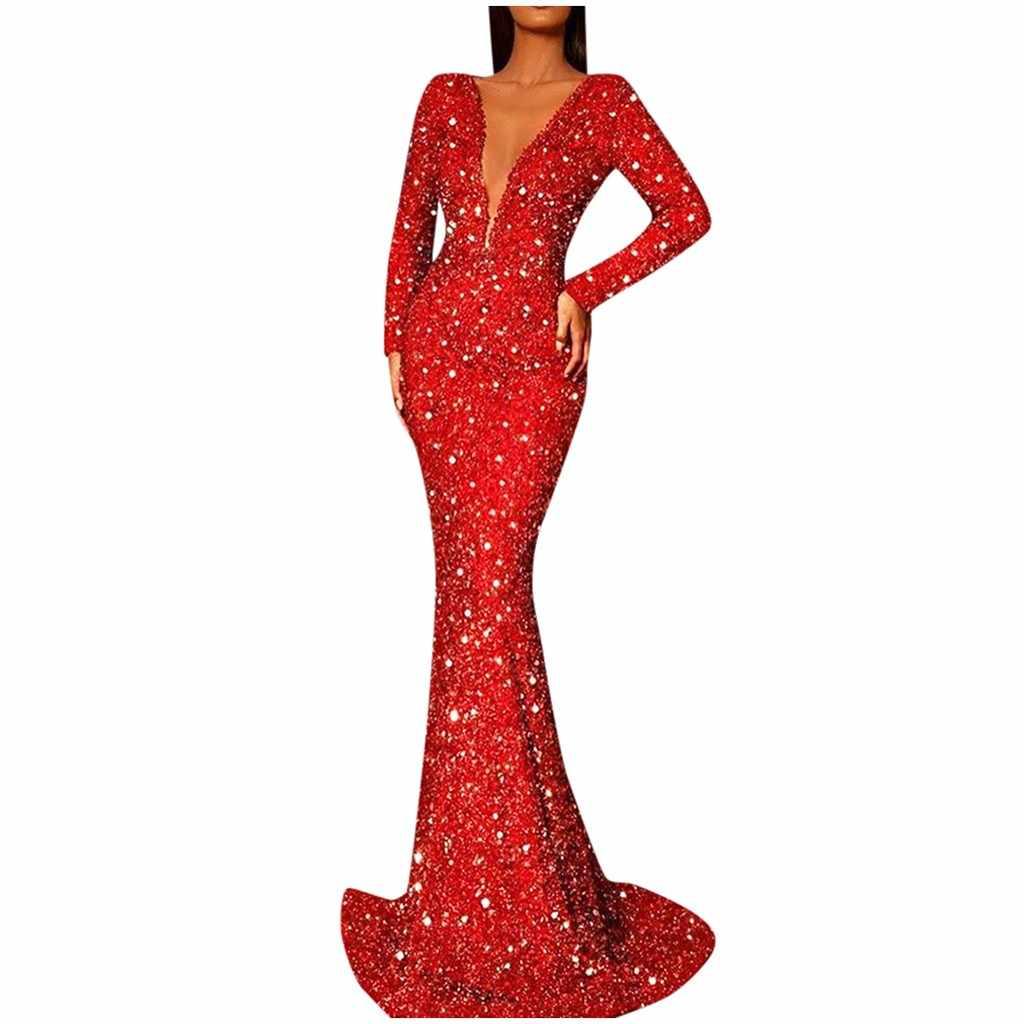 Kadınlar Vintage elbise 2020 katı köpüklü pullu elbise derin v yaka uzun kollu parti Fishtail elbise kadın Vestidos