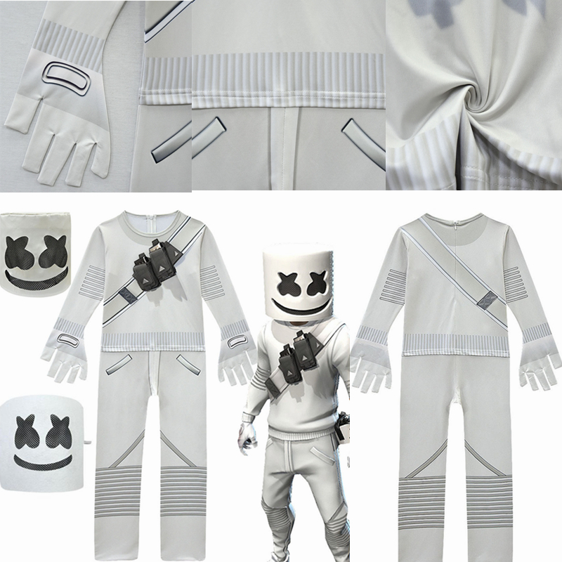 New DJ Marshmello Chris Doctom Cosplay Costumes Child Kids Jumpsuits Pajamas Party Halloween Performance Masquerade Suit