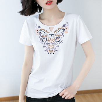 Cotton Summer T-shirt Women Retro Loose Pullovers Casual Tops O-Neck Short Sleeve Embroidery Pattern Ladies Plus Size T-shirt fashion summer women camouflage loose t shirt short sleeve casual ladies tops summer bandage hollow out t shirt tops