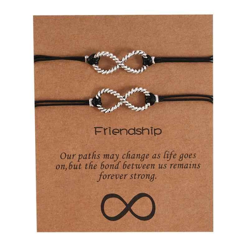 2020 baru DIY Pesona Gelang Untuk Persahabatan Pasangan 2 pcs/set batu Vulkanik gelang Manik Gelang Wanita Pria Lucky Wish Perhiasan