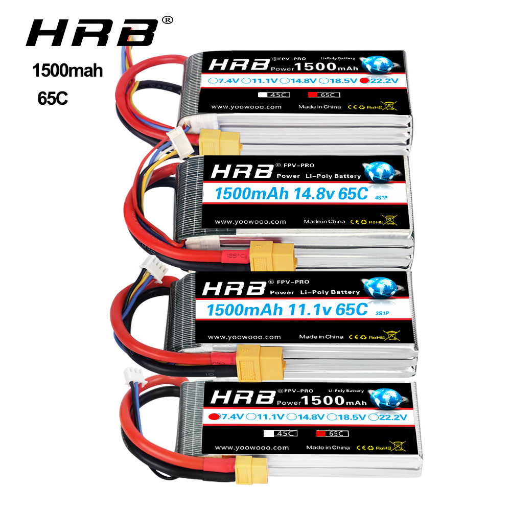 HRB Lipo Battery <font><b>1500mAh</b></font> 4S <font><b>3S</b></font> 6S Battery lipo for FPV Drones 65C lipo with XT60 Plug for Airplane FPV Racing Truck Tanks Boat image