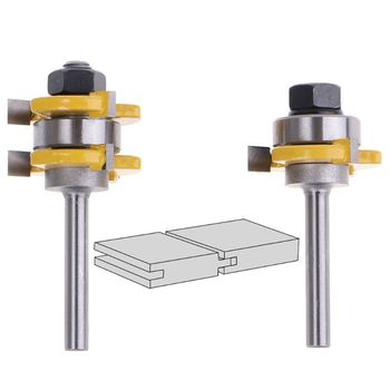 2pcs 6mm Shank Tongue Groove Joint Assembly Router Bit Set 3Teeth T Shape Tenon Carpentry Woodwork Cutter Tool