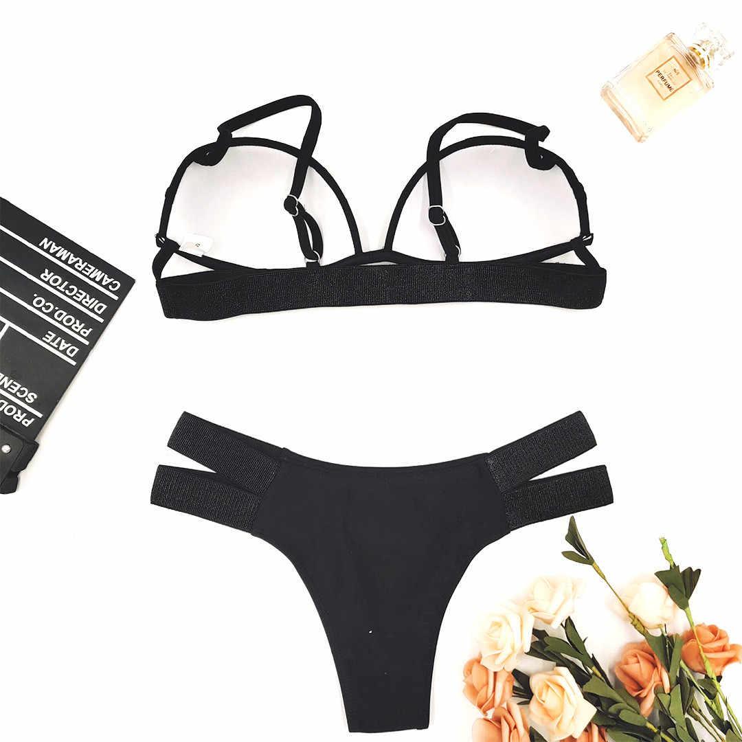 Vrouwen Sexy Bikini Strap Multi-Touw Effen Kleur Split Badpak Print Tankini Beach Wear Dikke Badpak купальник женский 40 *