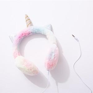 Image 3 - JINSERTA Warm Unicorns Headphones Wired Kids Earphone for Girls Birthday Gift Music Headset with 3.5mm Jack for Smartphone PC