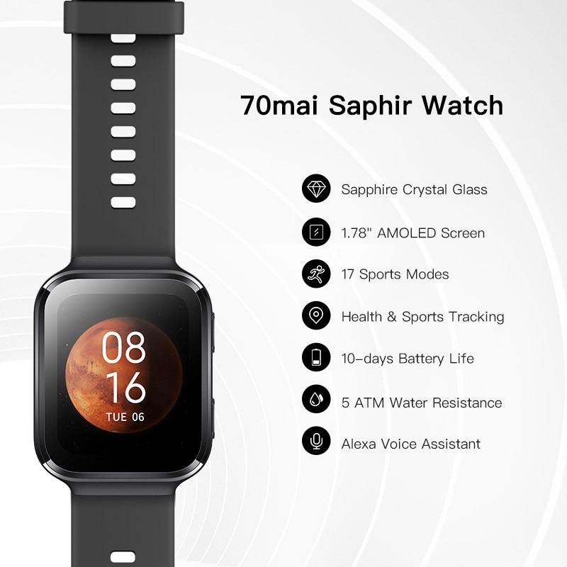 70mai Smart Watch 70mai Saphir Watch Bluetooth GPS Sport Heart Rate Monitor 5ATM Resistance Call Reminder 70mai Smartwatch APP 3