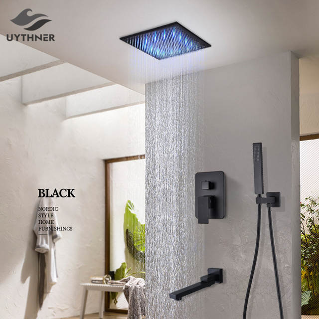 Matte Black Rain Shower Bath Faucet
