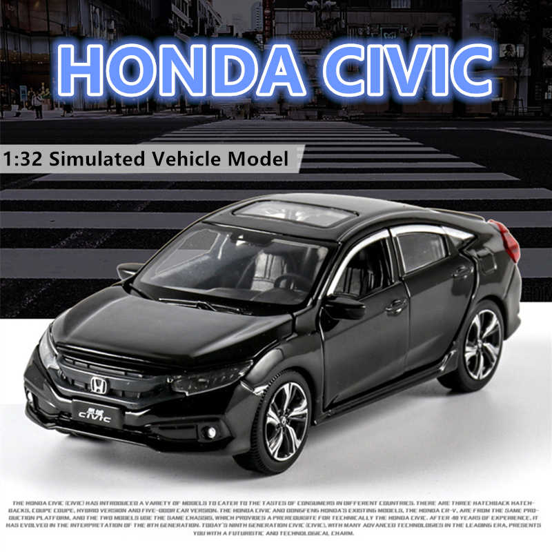 1:32 Honda Civic with sound and light door opening alloy children's toy car model collection gift pull-back vehicle