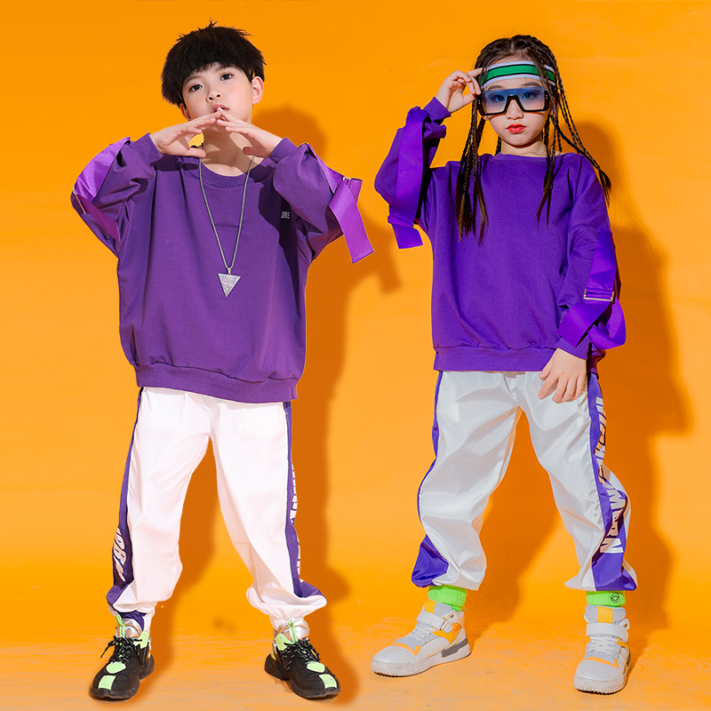 Fashion Jazz Dance Costume For Kids Purple Street Dance Practice Clothes Loose Hip Hop Rave Outfit Performance Clothing DC3413