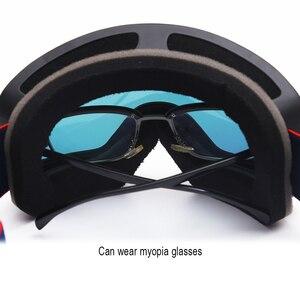 Image 4 - Jiepolly magnes gogle narciarskie sporty zimowe zimowe okulary snowboardowe Anti Fog ochrona UV skuter kulisty okulary narciarskie FJ037