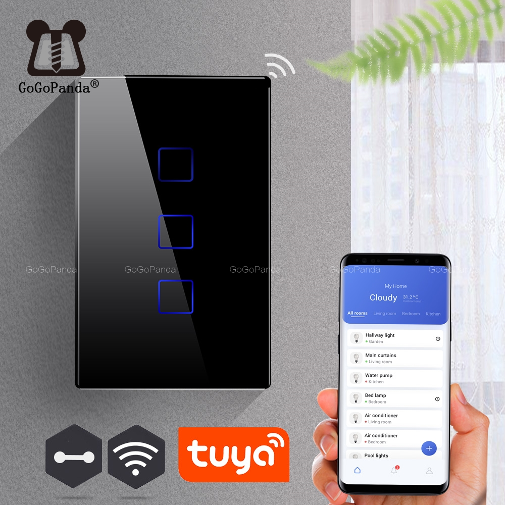 US Wifi Tuya App Remote Control Type Wall Light Controller Smart Home Automation Touch Switch Waterproof Fireproof 1G 2G 3G