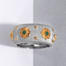 CMajor S925 Sterling Silver Jewelry Italian Style Two Tone 5A Green Cubic Zircon Stone Star Rings For Women