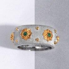 Cmain S925 الاسترليني والفضة والمجوهرات النمط الإيطالي اثنين من لهجة 5A الأخضر حجر زركونيا مكعب ستار خواتم للنساء