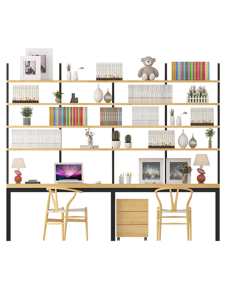 Nordic Pure Solid Wood Computer Desktop Table Home With Bookshelf Desk Combination Bookcase Integrated Minimalist Bedroom Writin
