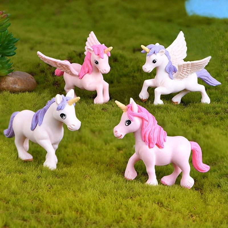 1 piece Unicorn Figures Fairy Animal Miniature Garden Figurine Cake Party DIY Desk Decoration Gift Random Color