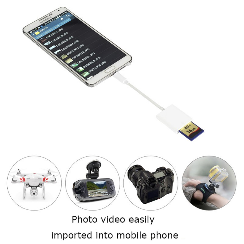 For Android  For Samsung Micro Port Mobile Phone Card Reader Micro To Secure Digital Memory Cards Phone OTG Adapter Cable
