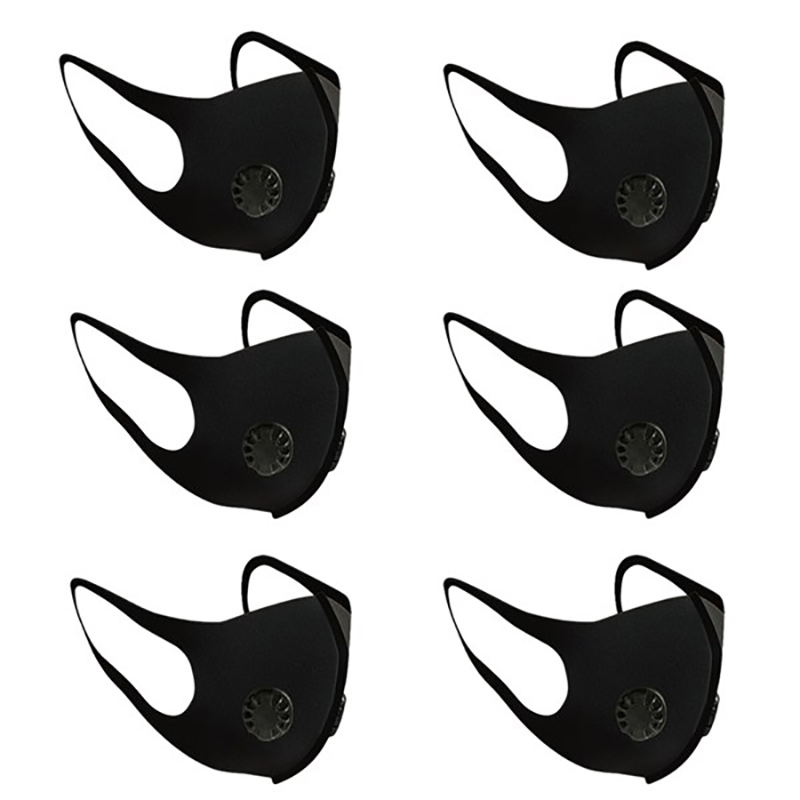 6Pcs Double Valve Anti-Pollution Mask Air Purifying PM2.5 Filter Face Mask Dustproof Anti Dust Breathable Washable Mask