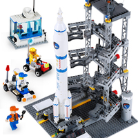 Space Flight Rocket Launch Model Spelling Insert Small Grain Building Blocks Beneficial Wisdom Spelling Insert Toys