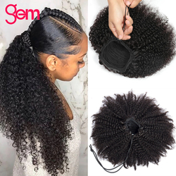 Afro Kinky Curly Ponytail Human Hair Drawstring Remy AMalaysian Hair Extensions Pony Tail For Women GEM Hair piece Clip In Hair