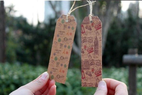 135 pièces 9 modèles Vintage vieux temps conception cadeau étiquettes parti faveur papier Hhang tag, cartes de papier avec de la ficelle
