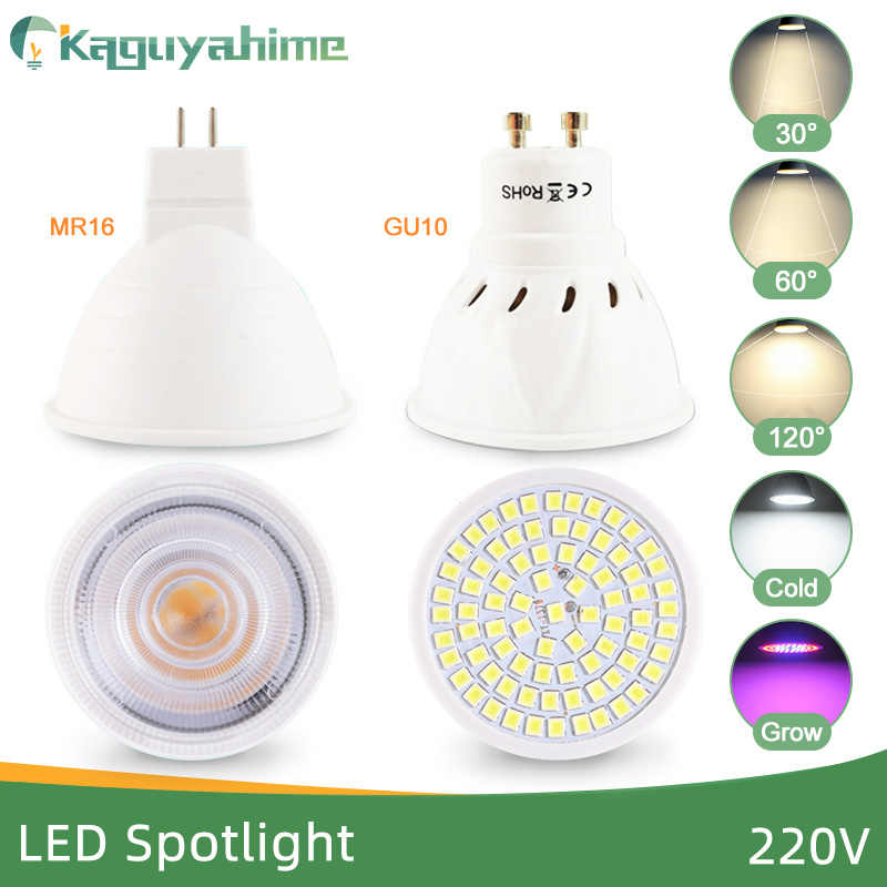 Kaguyahime foco LED regulable Led lámpara MR16 E27 GU10 GU5.3 MR11 W 7W 7W 8W 220V DC 12V punto Bombilla LED Lampada Bombillas