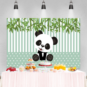 Image 5 - Laeacco Birthday Photography Backdrops Pink White Stripes Flowers Panda Bamboos Photographic Backgrounds Baby Shower Photocall