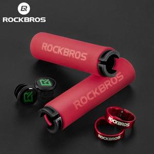 ROCKBROS Bicycle Grips MTB Silicone Sponge Handlebar Grips Anti-skid Shock-absorbing Soft Bike Grips Ultraight Cycling Handlebar