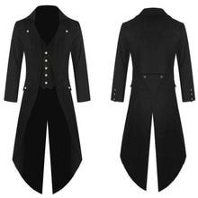 De moda abrigo de los hombres Vintage vapor Punk gótico Retro largo abrigo larga chaqueta gabardina hombre larga # guahao