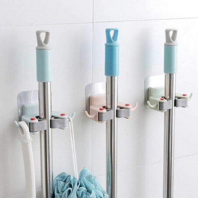 Multi escoba soporte para mopa gancho de fregona sin punzón soporte de baño estante de pared de baño gancho para escoba